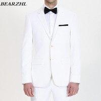 Мужчины белый смокинг для жениха одежда высокого качества на заказ костюмы для человека Свадебные деловой костюм 2018