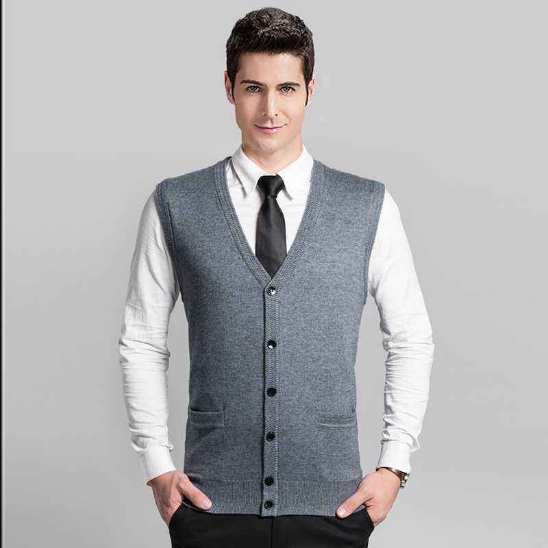 2016 New Design Autumn Mens V-Neck Cardigan With Button Up Mens Plain Sleeveless Sweater Cardigan