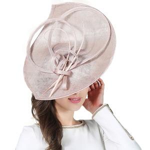 Image 2 - FS Sinamay เคนตั๊กกี้ DERBY หมวกปีกกว้างขนาดใหญ่ Handmade ผ้าลินินหมวก Fascinator VINTAGE Elegant PARTY ค็อกเทลหมวก