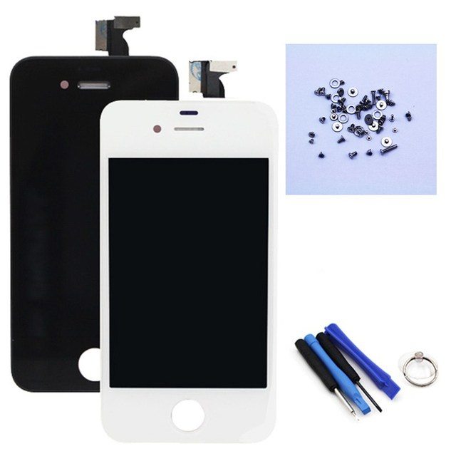 Competitive AAA Screen Assembly Touch Digitizer LCD Display Screen for iphone4 Replacement Black/White+Tools+Full Set of Screws
