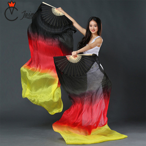 Image 2 - Belly dance fans High quality 20 colors 100% silk veils dance fans bamboo ribs long Stage Performance Property props 180cm