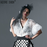[EWQ] 2018 Customizable Summer Fashion V Neck Lace Chiffon Butterfly Sleeve Short White Shirt With Zipper Woman AZWT76