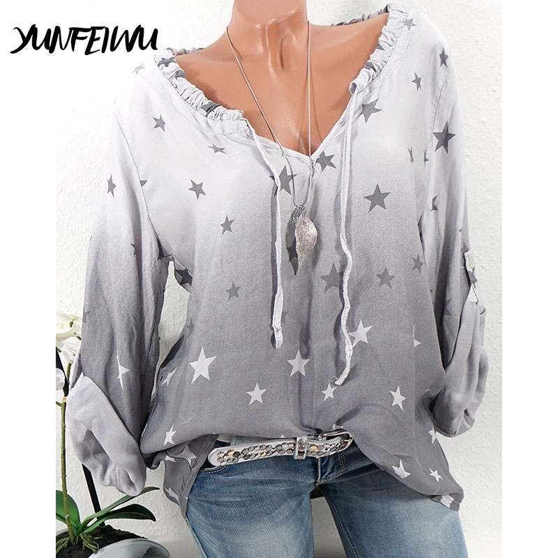 Women's Clothing The Best Women Blouses Button Five-pointed Star Hot Drill Plus Size Tops Blouse Women Tops Shirt Women Chemisiers Et Blouses Femme
