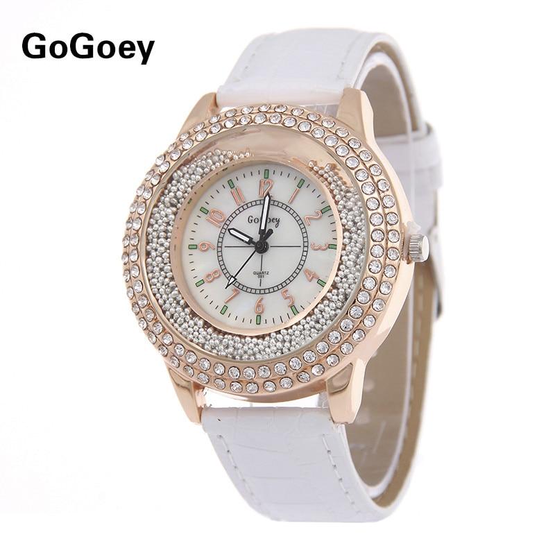 Hot Sales Gogoey brand Rhinestone Beads Leather Watch Women Ladies Crystal Dress Quartz Wristwatch Relogio Feminino go007 цена