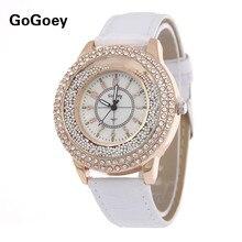 Лидер продаж Gogoey Марка фианитами кожаным ремешком Для женщин дамы кристалл платье кварцевые наручные часы Relogio Feminino go007