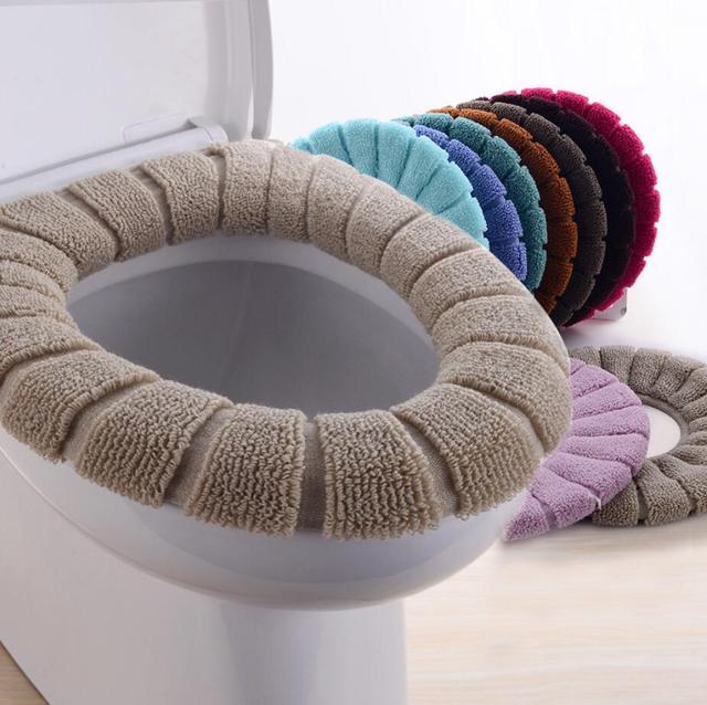 2 pz/lotto Spessore velluto di lusso toilet Seat Cover Set morbido Caldo Caso di