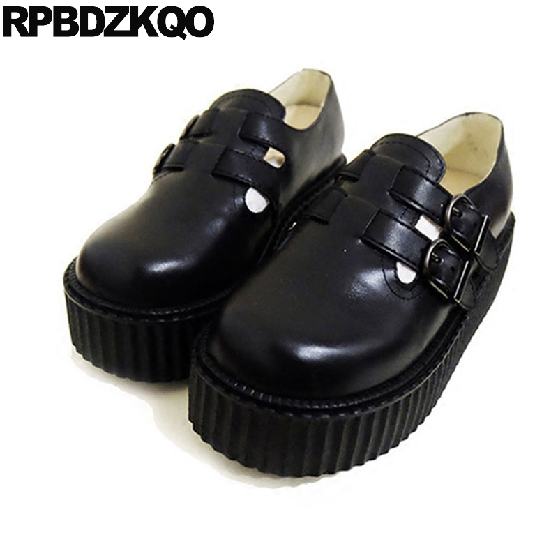 Harajuku Women Round Toe Sweet Big Size High Heels Cute Pumps Platform Lolita Shoes 33 Belts Creepers T Strap Japanese Black japanese gothic lolita cosplay ankle t strap shoes medium platform heel round toe girls shoes with wing red black
