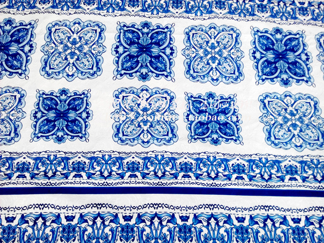 2016 NEW Collection Vintage jacquard brocade fabric blue white and ...