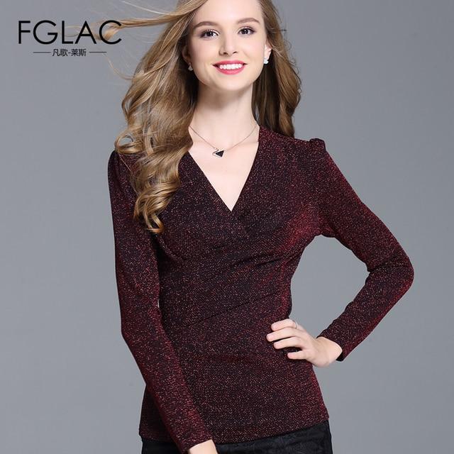 Новый 2017 Весной рубашка женская Мода Случайный с длинными рукавами Женщины топы Sexy V-образным Вырезом женщин футболки плюс размер женская одежда blusas
