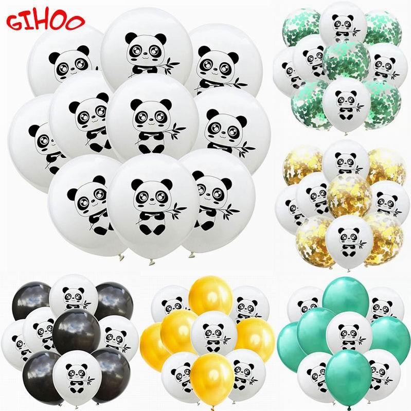 10 pçs dos desenhos animados panda impresso ponto preto látex balão verde confetes balões crianças festa de aniversário decoração panda tema fontes de festa