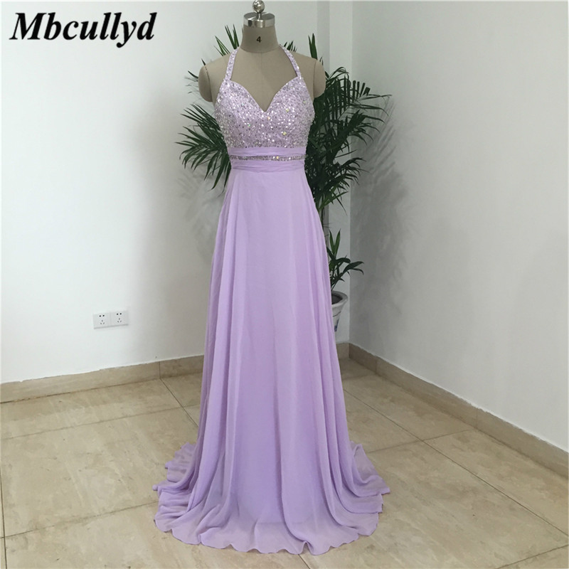 Mbcullyd Chiffon   Bridesmaid     Dresses   With Beading Crystal Long A Line Maid Of Honor   Dress   Party For Women Cheap Robe de mariee