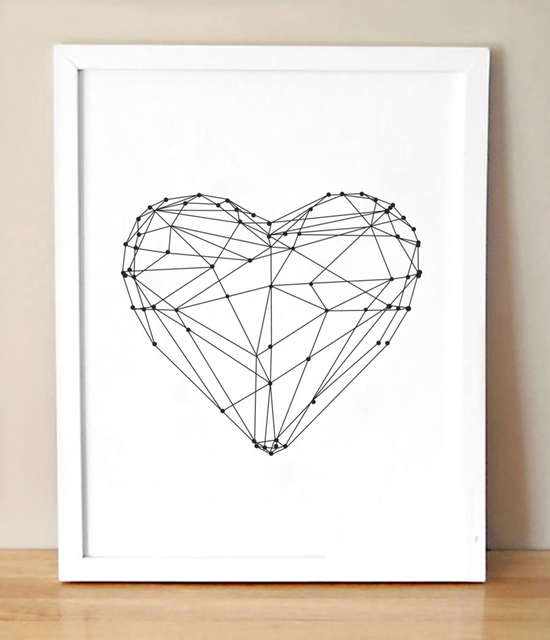 Heart Shape Simple Canvas Wall Art Modern Painting Black And White Love Pictures