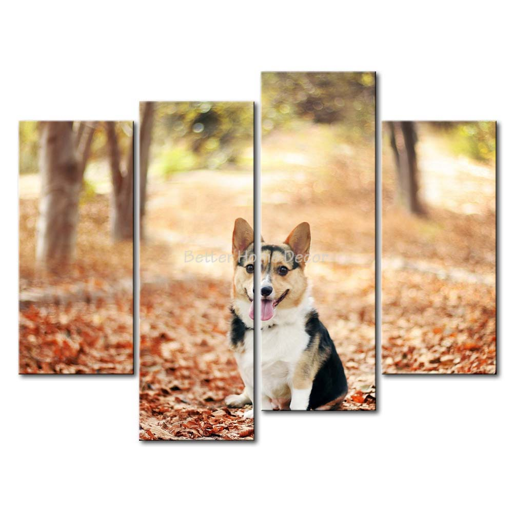 3 Piece Wall Art Painting Welsh Corgi Puppy Sit At Maple Wood Print ...