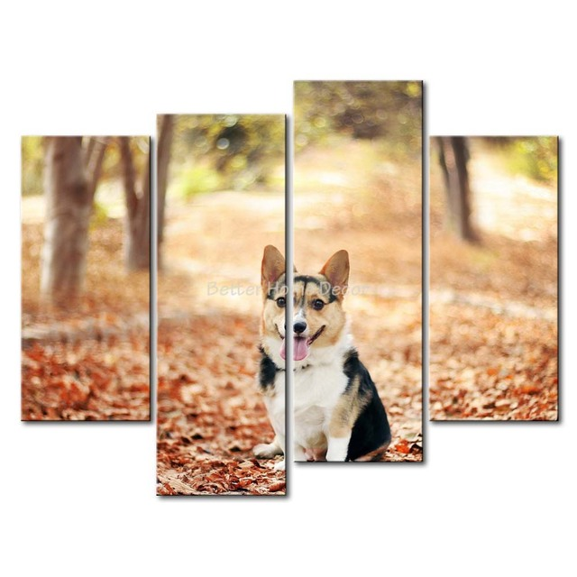 3 Piece Wall Art Painting Welsh Corgi Puppy Sit At Maple Wood Print On Canvas The Picture Animal 4 5 Pictures-in Painting & Calligraphy from Home & ...