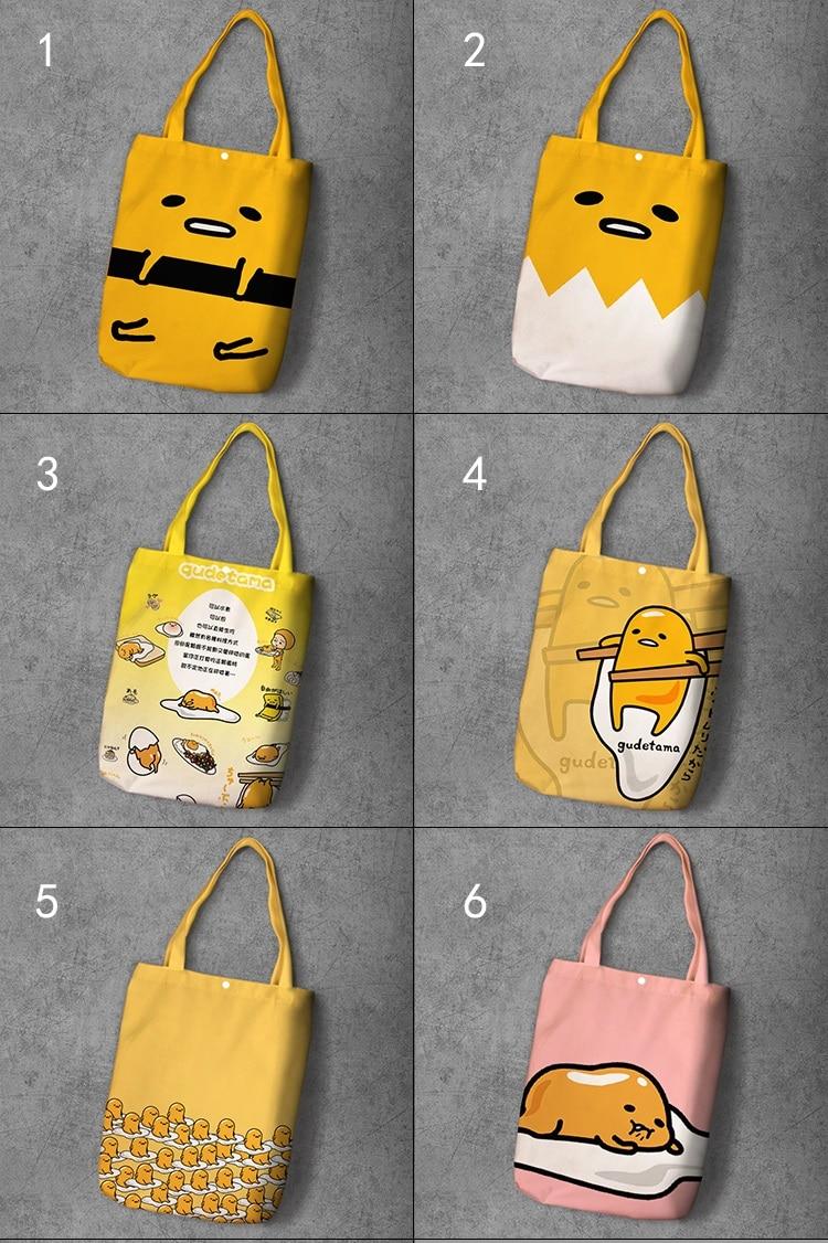 Gudetama Cartoon Student Printed Canvas Recy Shopping Bag Large Capacity Customize Tote Fashion Ladies Casual Shoulder Bags