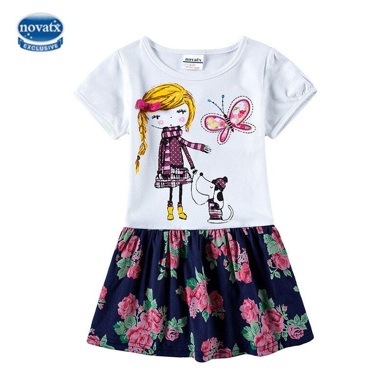 NOVATX dresses for girls summer children clothing flowers girl dress casual sleeveless party dress robe fille enfant H4980