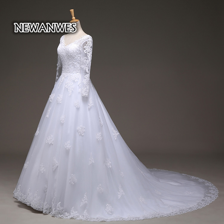 Sheer Full Sleeve Lace A-line Bridal Gown