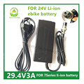 29.4V3A cargador Cargador de Batería de Litio para la bicicleta eléctrica serie 7 24 V Li-ion battery pack XLRF XLR 3 sockets/conector