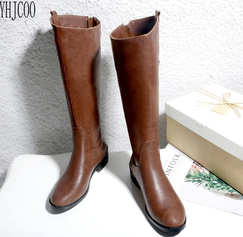 YHJCOO new trend ladies horse boots square heel After the zipper woman Mid-Calf Boots Autumn and winter women shoes size 34-43 2017 hot selling women winter boots mid calf style beautiful and comfortable square toe and heel design stable various color