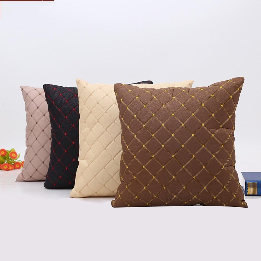 레트로 빈티지 격자 베개 커버 스트립 베개 케이스 침실 홈 오피스 장식 블랙 브라운 던져 Pillowcases Capa