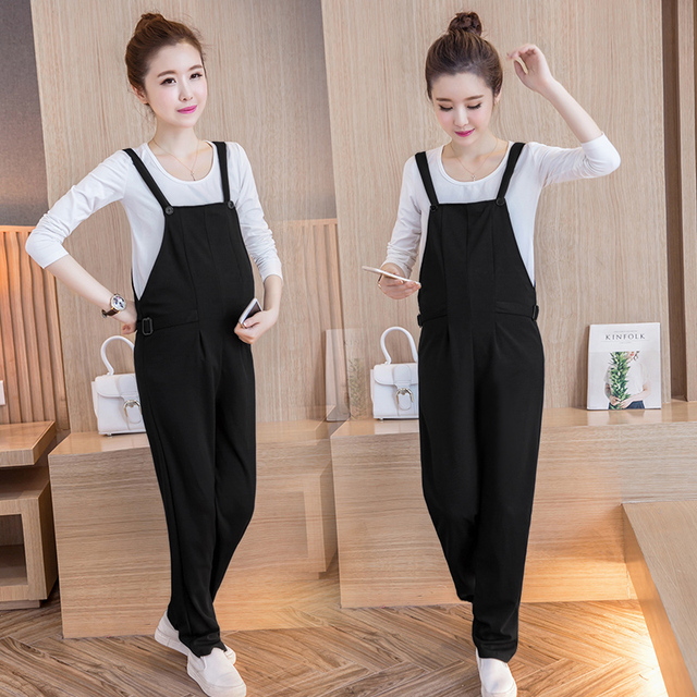 Fashion Maternity bib pants all match black color thin trousers loose all-match fashion black jumpsuit spring and summer
