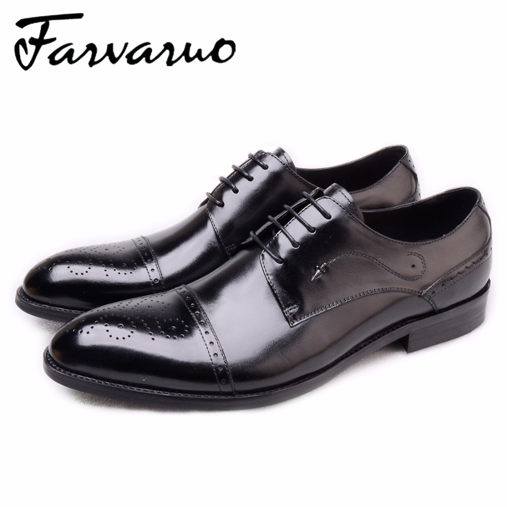 Farvarwo Genuine Leather Shoes Men Formal Oxfords Black Casual Lace Up Flats Party Wedding Pointed Toe Dress Shoes Spring/Autumn new arrival men casual business wedding formal dress genuine leather shoes pointed toe lace up derby shoe gentleman zapatos male