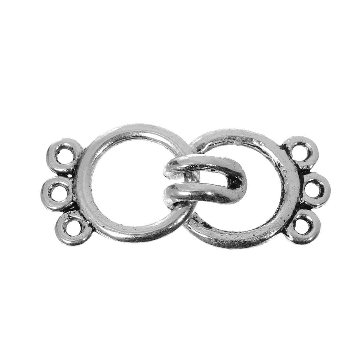 DoreenBeads Zinc Based Alloy Toggle Clasps Findings Round Antique Silver <font><b>3</b></font> Holes 15mm x11mm 14mm x11mm ,10 Sets 2016 new