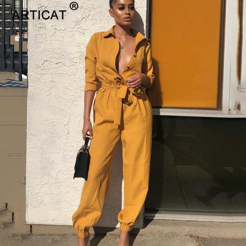 Articat New Sexy   Jumpsuit   Women Romper 2019 Long Sleeve Belt Buttons Wide Leg Pants Casual Party Club Loose   Jumpsuit   Streetwear