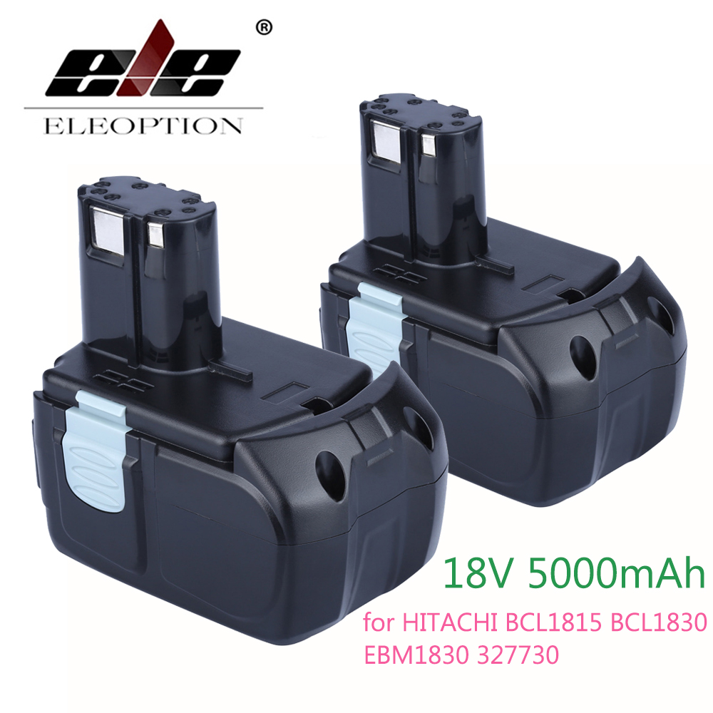 ELEOPTION 2PCS High Capacity 18V 5000mAh Li-ion Battery for HITACHI BCL1815 BCL1830 EBM1830 Rechargeable Power Tool Battey eleoption 2pcs 18v 4000mah li ion rechargeable power tool battery for hitachi bsl1830 bsl1840 330067
