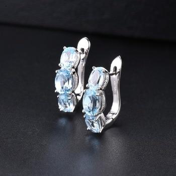 Hutang 925 Silver Hoop Earrings for Women, 1.48ct Blue Topaz Gemstone Earrings Classical Elegant Fine Sterling Silver Jewelry 3