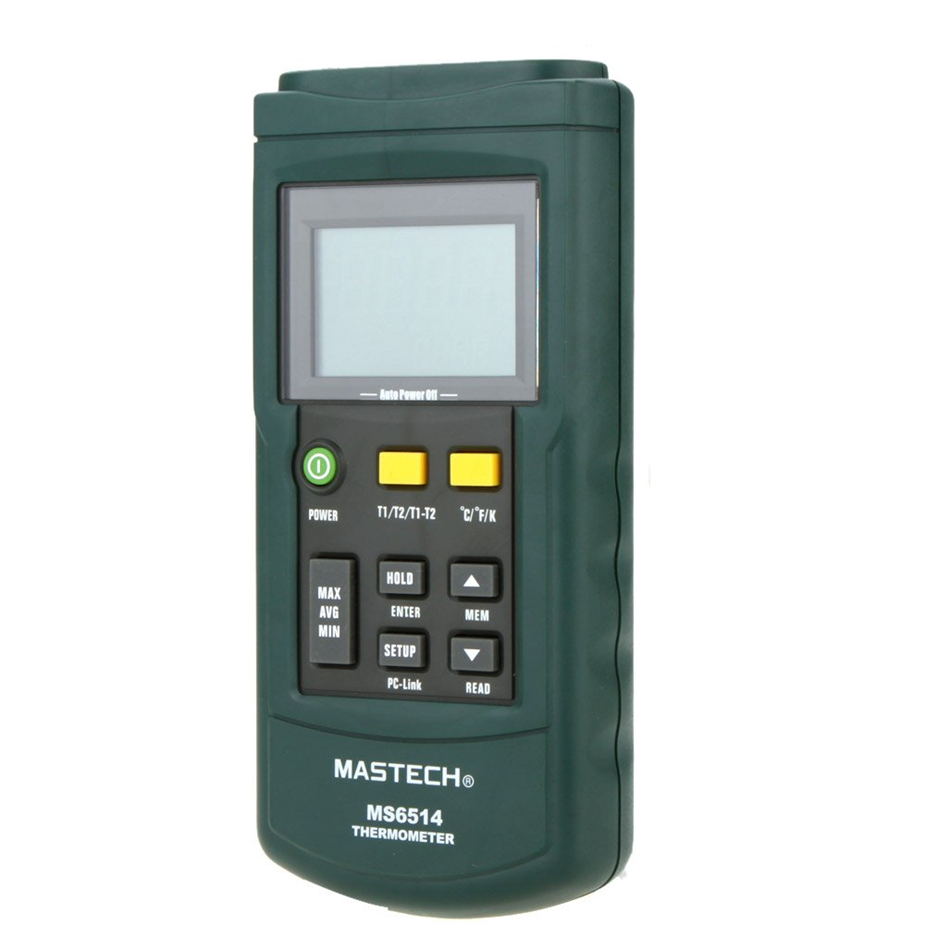 Hot MS6514 Dual Channel Digital Thermometer Temperature Logger Tester USB Interface 1000 Sets Data KJTERSN Thermocouple mastech ms6514 dual channel digital thermometer tester usb interface