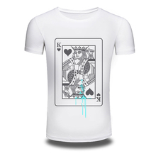 DY-106 Free Shipping Mens Poker k Designs Printing White 100%Cotton Short Sleeve O-Neck DIY T shirts Tops Fashion Tees