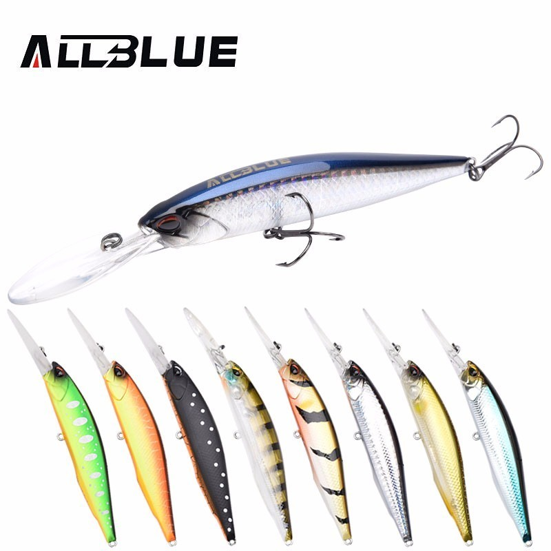ALLBLUE 15.8G 100MM Jerkbait Fishing Lure 2M-3M Deep Swim Hard Bait Fish Artificial Baits Minnow Fishing Wobbler Pesca DR100JB allblue slugger 65sp professional 3d shad fishing lure 65mm 6 5g suspend wobbler minnow 0 5 1 2m bass pike bait fishing tackle