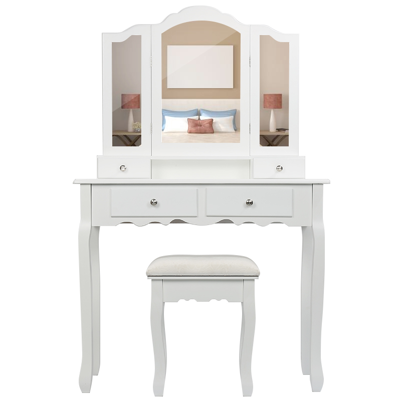 NEW Bedroom Makeup Vanity With 3 Mirrors 4 Drawers And Stool Bedroom Sets Makeup Table 90x40x145cm HWC