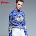 Europeo 2017 Otoño Mujeres Blusas Moda Delgado Vintgae Mancha de Impresión Camisa de Las Señoras Tops Casuales de Manga Larga Chemise Femme