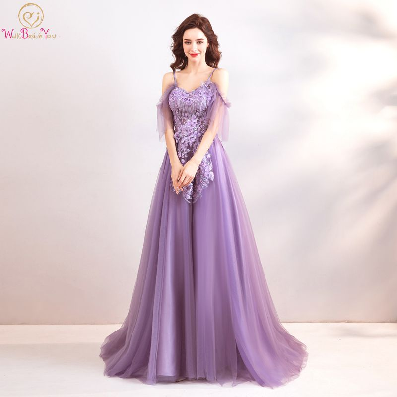 Purple   Prom     Dresses   Long 2019 Graduation Spaghetti Strap Off Shoulder Lace Appliques Crystal A Line V Neck Tulle Evening Gowns
