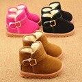 Cálido invierno de peluche niños de los niños espesan zapatos de la bota niñas, zapatillas de deporte del bebé hebilla botas de nieve del cabrito zapatos Criancas Sapatos S2476