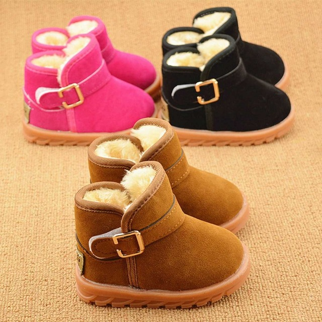 Warm Winter Plush Children Kids Thicken Boot Shoes Boys Girls,Baby Sneakers Buckle Snow Boots Kid's Shoes Criancas Sapatos S2476