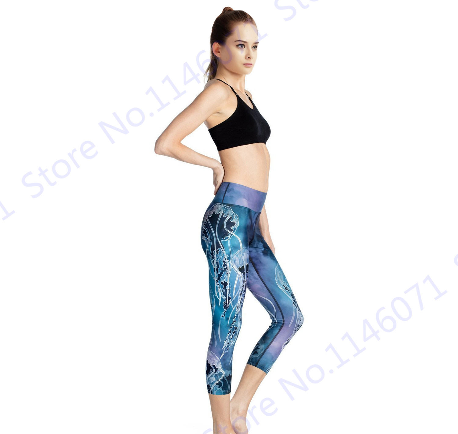 266badcd029a5 Blue Sea Jellyfish Womens Yoga Capri Leggings Print Jellyfish Forest Sports  Running Tights Slim Skinny Fitness Gym Cropped Pants-in Running Tights from  ...