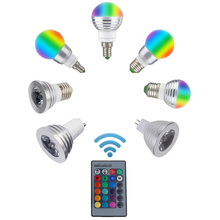 LED RGB Bulb Lamp E27 E14 GU10 85-265V MR16 12V LED Changeable Spotlight 3W Magic Holiday RGB lighting +Remote Control 16 Colors