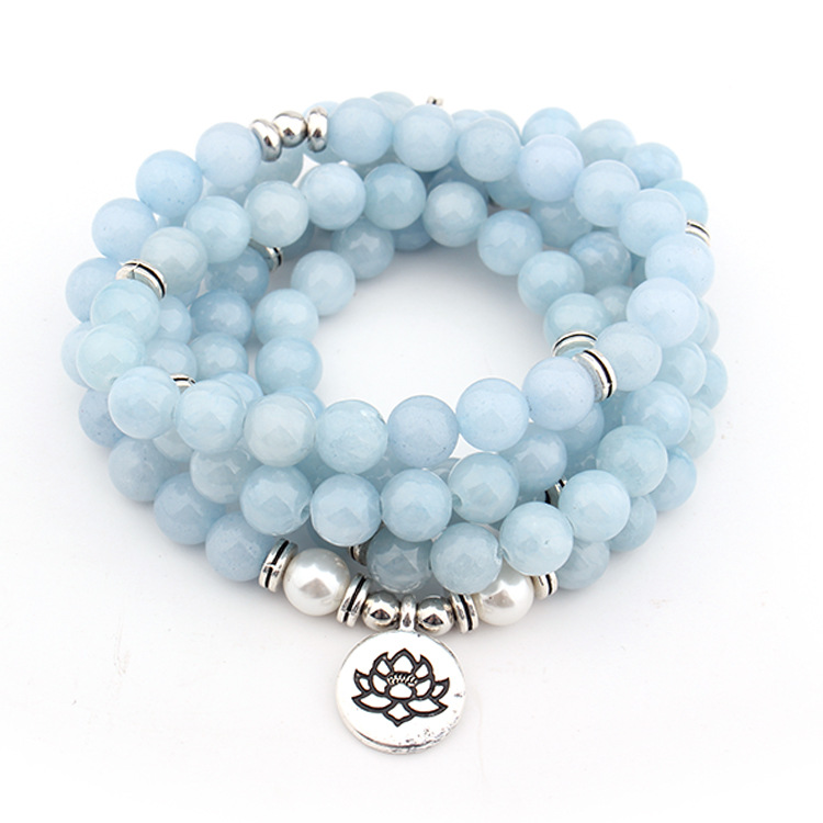Women's Pastel Blue Natural Stone Lotus Bracelet 3