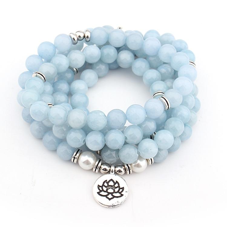 Women's Pastel Blue Natural Stone Lotus Bracelet 3