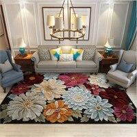 3D 유럽 스타일 플로랄 크리스탈 벨벳 카펫 카펫 거실 커피 테이블 영역 러그 침실 러그 카펫 키즈 룸