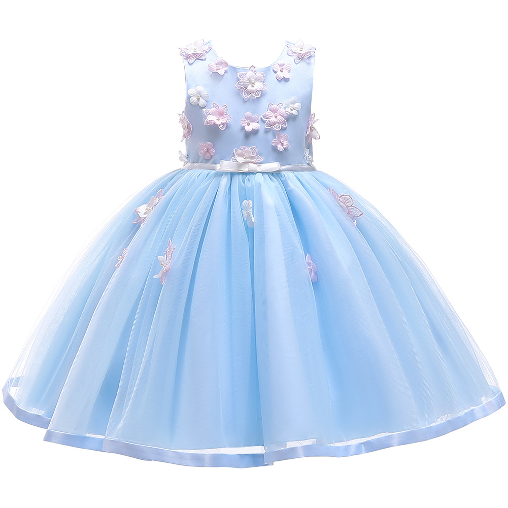 Girls Party Dress Kids 3D Rose Tulle Party Wedding Gown Fashion Design Flower Girls Princess Dresses