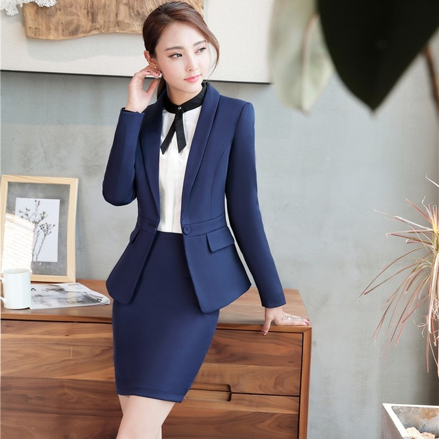 71ac9c7a2ae2 Formal Navy Blue Blazers Women Business Suits with Skirt and Jackets Sets  Ladies Office Business Work Wear Uniforms OL Styles
