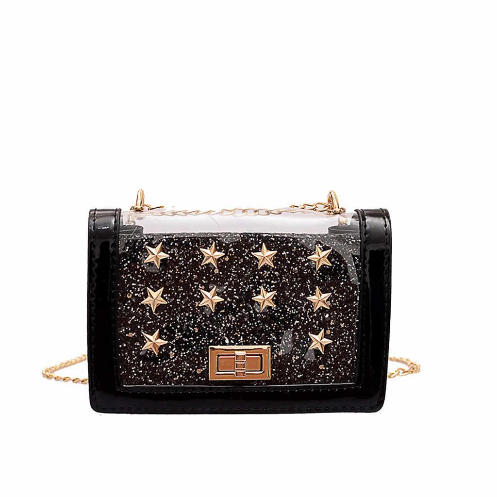 Moda damska torba na ramię wzór gwiazdy torba cekinowa przezroczysta torba nowa elegancka torba przeciw kradzieży kobiet do podróży drop
