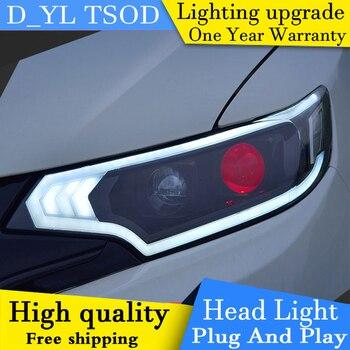 Car Styling Headlights for Honda Fit 2016 LED Headlight for Honda Fit Head Lamp LED Daytime Running Light LED DRL Bi-Xenon HID