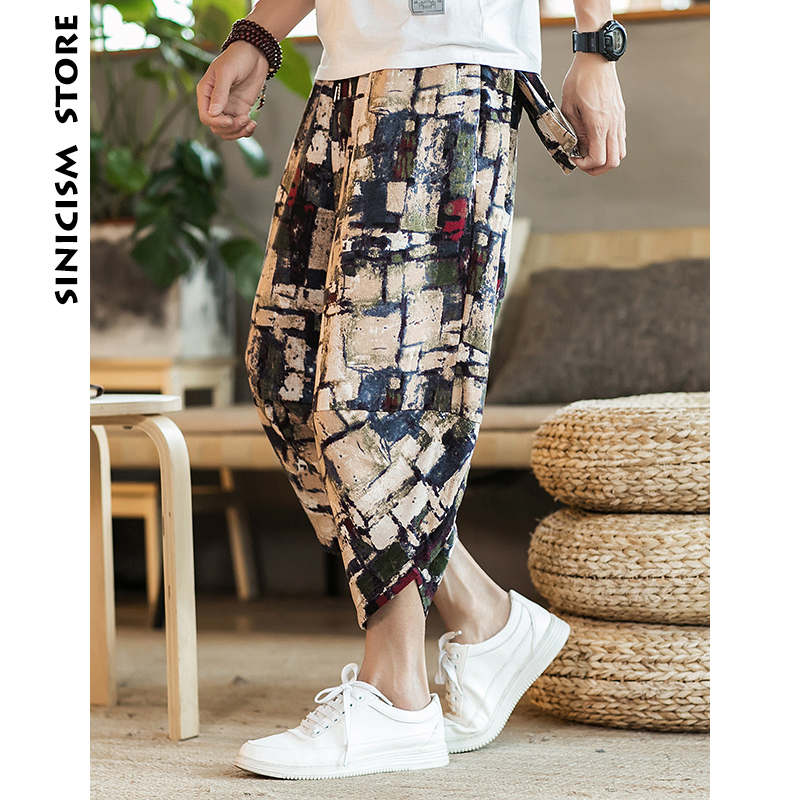 Sinicism Store Mens Cotton Linen Pants Male Summer Casual Ankle-Length Pants Man 2019 Pattern Print Baggy Loose Trousers