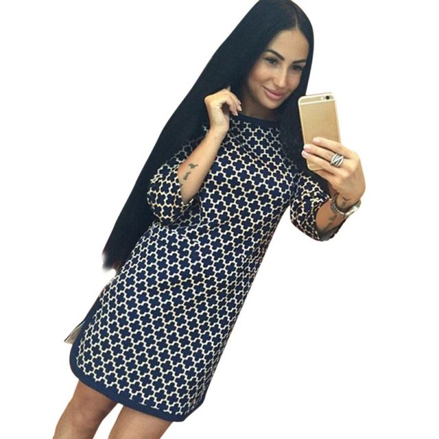 Women Vintage Cross Plaid Print neck 3/4 Long Sleeve Casual Straight Dress H34