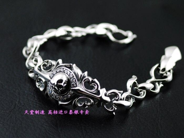 Thailand imports, 925 silver Japanese Zircon skull Silver Bracelet
